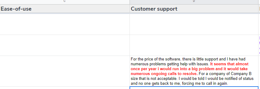 Customer reviews: highlighting sentiments